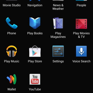 Samsung Galaxy S4 googl edition screenshot app grid