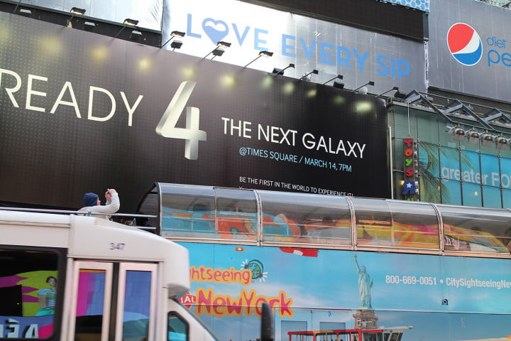samsungs galaxy still isnt big enough to conquer times square samsung s  launch sign