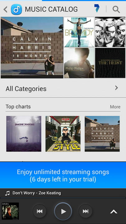 samsung galaxy s4 screenshot music catalog