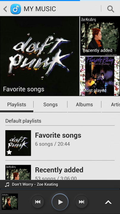 samsung galaxy s  review screenshot my music