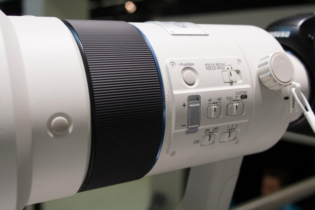 The 300mm f/2.8 NX lens sports a focus limiter that is set in-camera.
