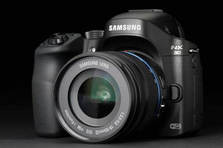Samsung NX30 front right angle