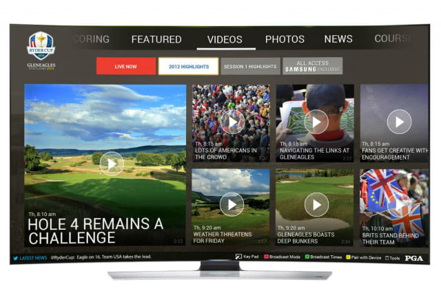 samsung builds ryder cup multi screen app for newer smart tvs rydercup