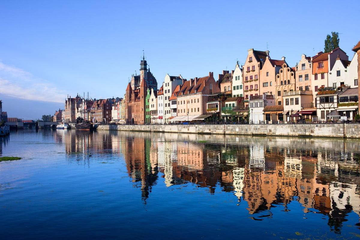 global budget cost of living search engine scenic view with reflection on water the old town gdansk in poland by motlawa rive