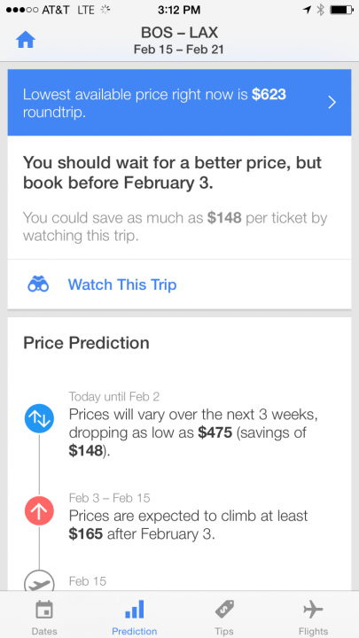 now boarding lots sites sell flights price predictions hopper sells reassurance screen  prediction