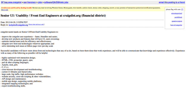 Craigslist Engineer job posting