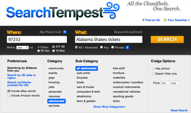 Best Craigslist search engines: Search Tempest