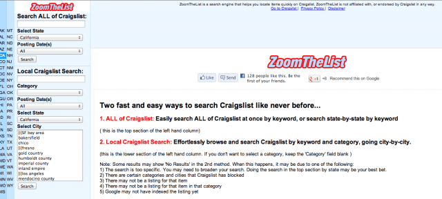 Zoom the List Craigslist Search Engine Screenshot