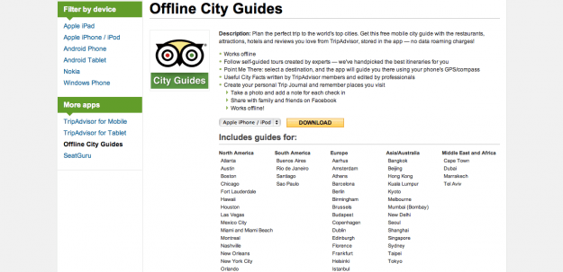 TripAdvisor offers a variety of offline-accessible city guides.
