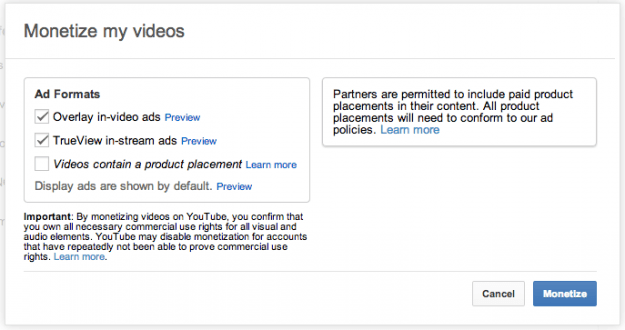 YouTube Monetization Screen