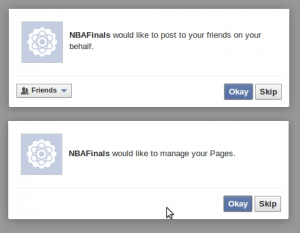 NBA Facebook scam permissions