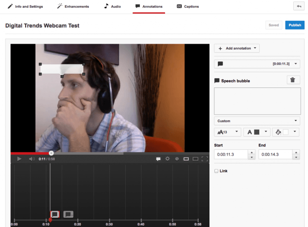 Add annotations to Youtube video