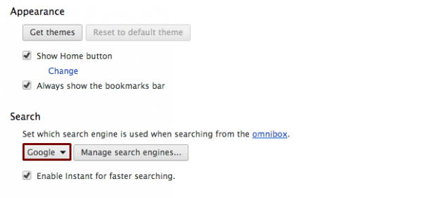 Google as Search Engine Default in Chrome