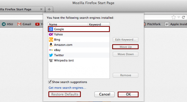Google as Default Search Engine in Mozilla