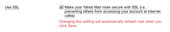 Yahoo Mail encryption settings