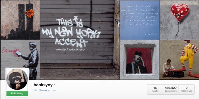 banksy has instagram or hes tricking us screen shot  at pm