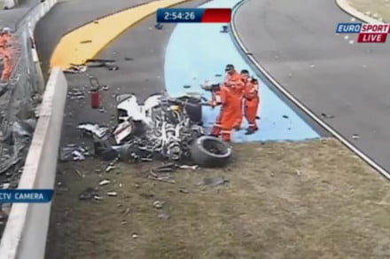 Loic Duval crash during 2014 Le Mans practice