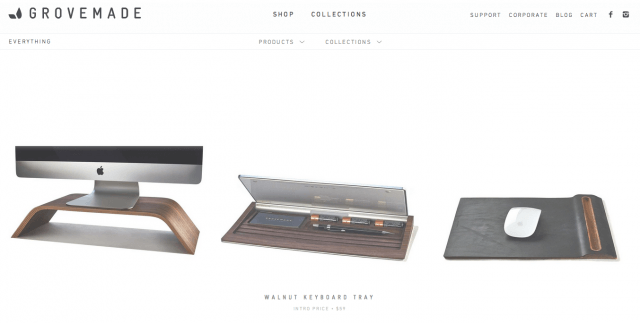 Grovemade store, powered by Shopify.