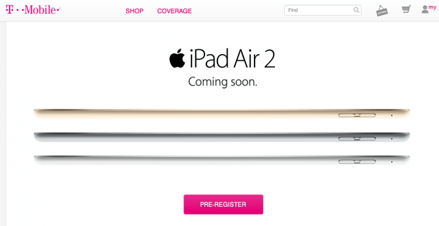 T-Mobile iPad Air 2 Preregistration page