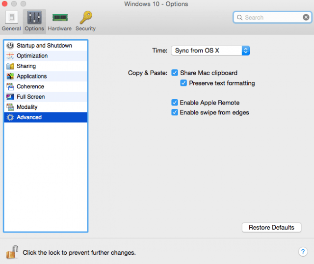Parallels-10-Options-Tab