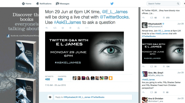 e l james disastrous twitter screen shot  at pm