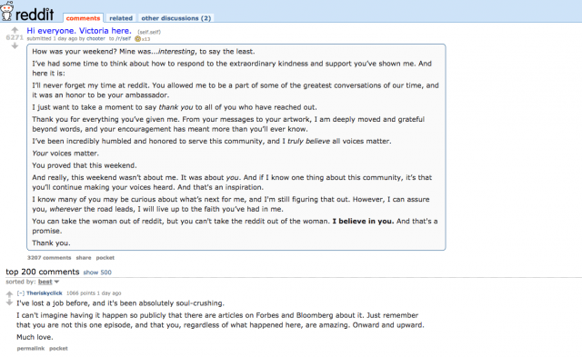 victoria taylor reddit breaks her silence screen shot  at pm