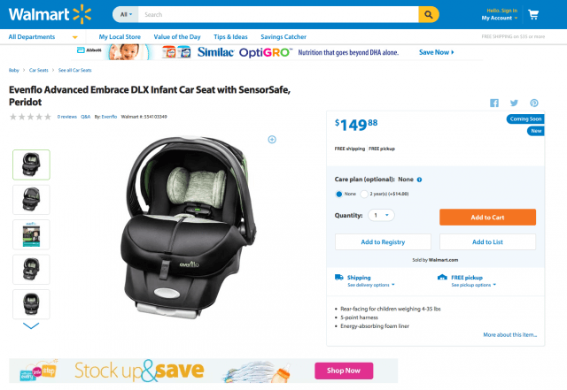 this new car seat with sensorsafe technology can save your babys life and you get it at walmart screen shot  pm