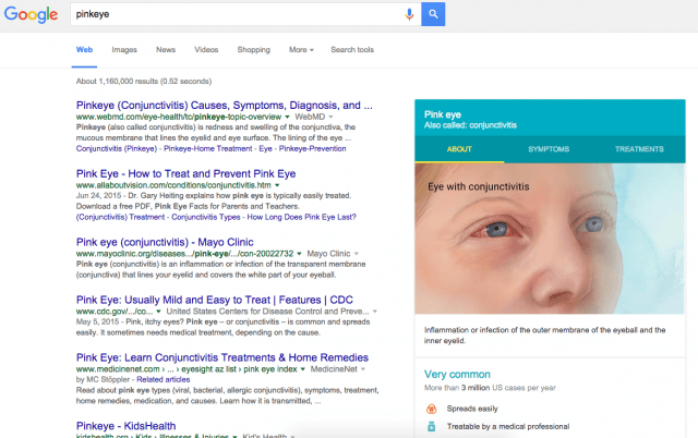 google knowledge graph now diagnoses  diseases screen shot at pm