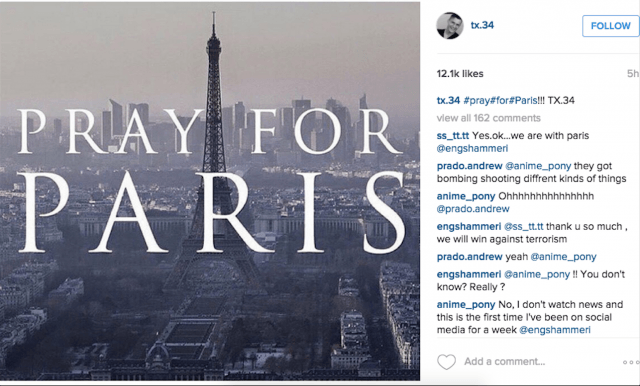 social media reacts to paris attacks screen shot  at am