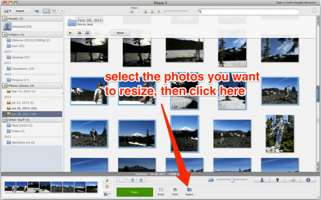 Batch resize with Picasa