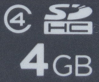 This indicates that the card is in the SDHC format with a 4GB storage capacity and a Class 4 speed rating.