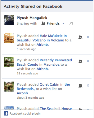 Facebook Shared Activity Airbnb