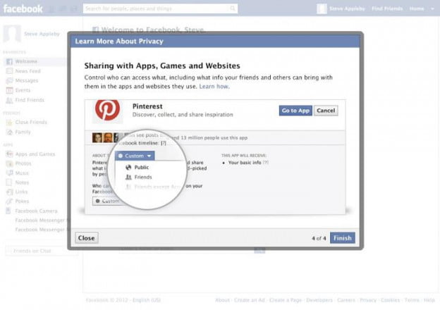 sharing apps and games on facebook