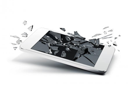 Shattered phone screen