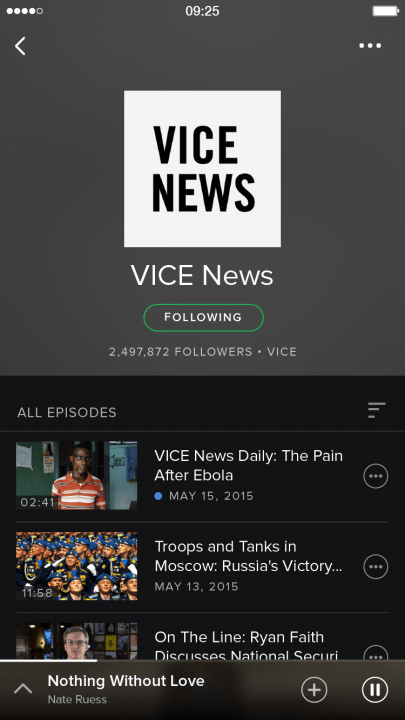 spotify adds video podcasts and running music features shows screenshot