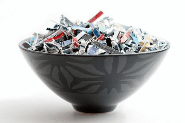 A bowl of shredded credit cards