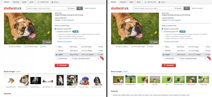 The image on the left shows varied results when searching by keywords. The image on the right shows visually similar results when using visual search.