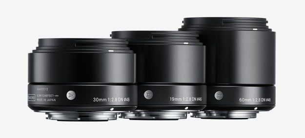 Sigma 30mm F2.8 DN, 19mm F2.8 DN, and 60mm F2.8DN lenses for Micro Four Thirds and Sony E-Mount (NEX) mirrorless cameras.