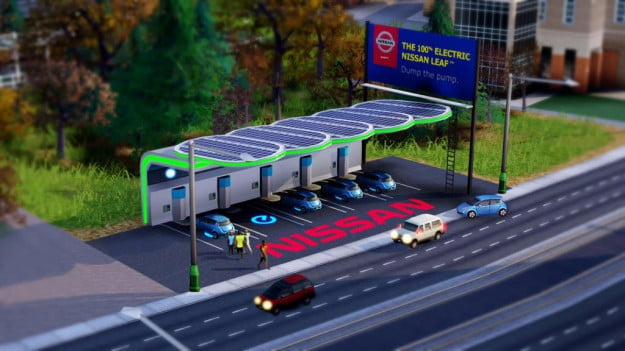 SimCity Nissan LEAF charging stations