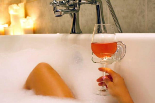 sipcaddy is a beer and wine holder for the shower drink