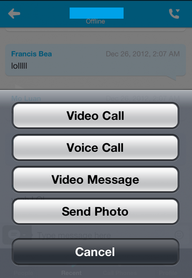 skype video messaging options