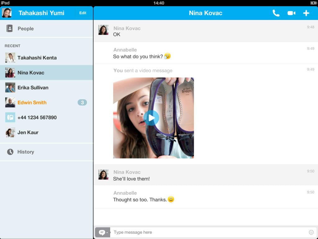 how to delete skype messages on ipad