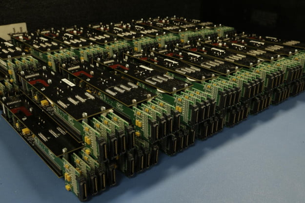 The 32 photomultiplier modules that make up the camera.