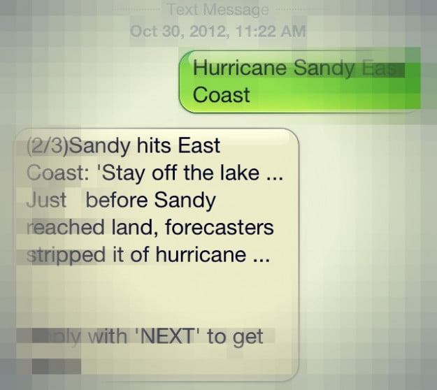 sms hurricane sandy
