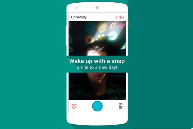 snap me up android alarm clock selfie required