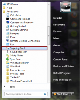 Snipping Tool Navigation