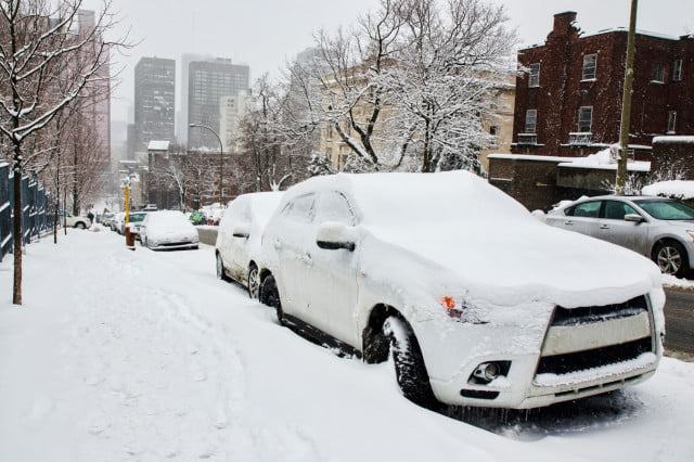 bmw mit solar harvesting snowed in city icy cars blizzard winter snow snowy