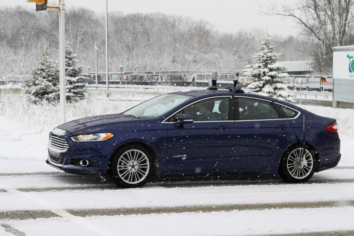 ford winter testing autonomous cars fusion hybrid