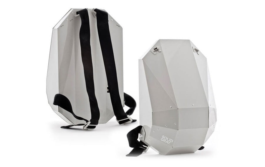 Solid Gray backpack features indestructible hard shell ...