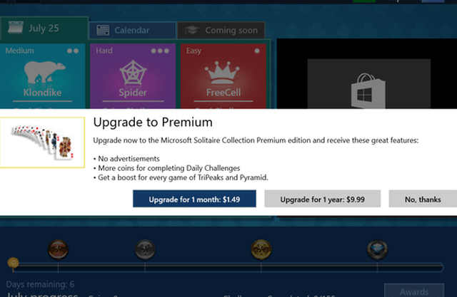 pay to remove ads solitaire windows